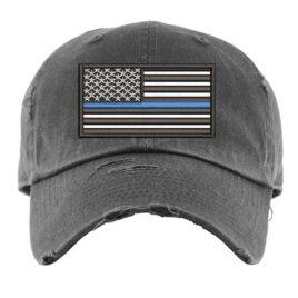 Distressed Thin Blue Line Ball Cap