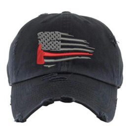 Distressed Thin Red Line Ball Cap
