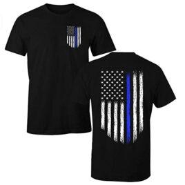 Fantastic Tees Thin Blue Line USA Flag Patriotic Police T-Shirt