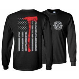 Firefighter Thin Red Line Axe Long Sleeve T-Shirt