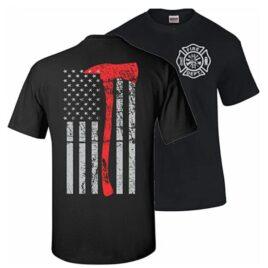 Firefighter Thin Red Line Axe T-Shirt
